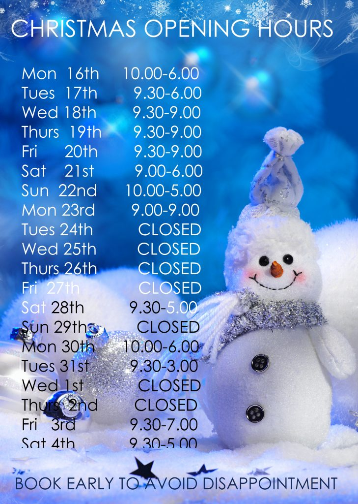 Our Rathgar Christmas Opening Hours